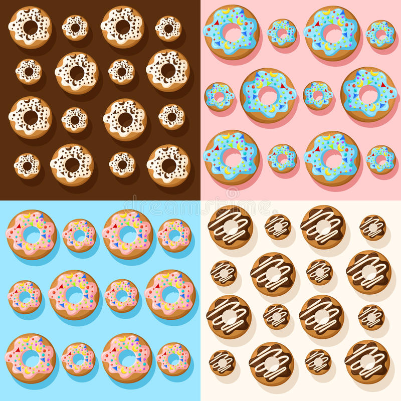 Donut illustration isolated on white Vector seamless pattern with colorful donuts with glaze and sprinkles on a white background. vector illustration