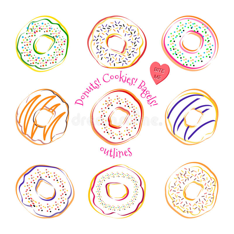 Donut line drawing vector set isolated on white background royalty free illustration