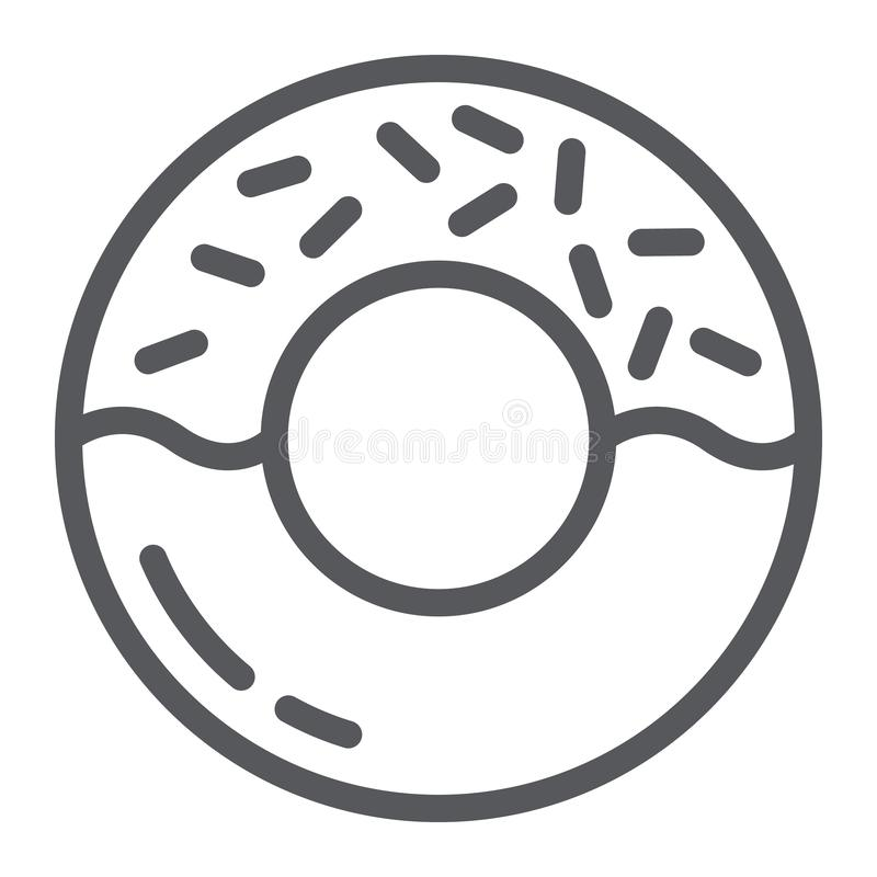 Donut line icon, delicious and food, cake sign, vector graphics, a linear pattern on a white background. Donut line icon, delicious and food, cake sign, vector vector illustration