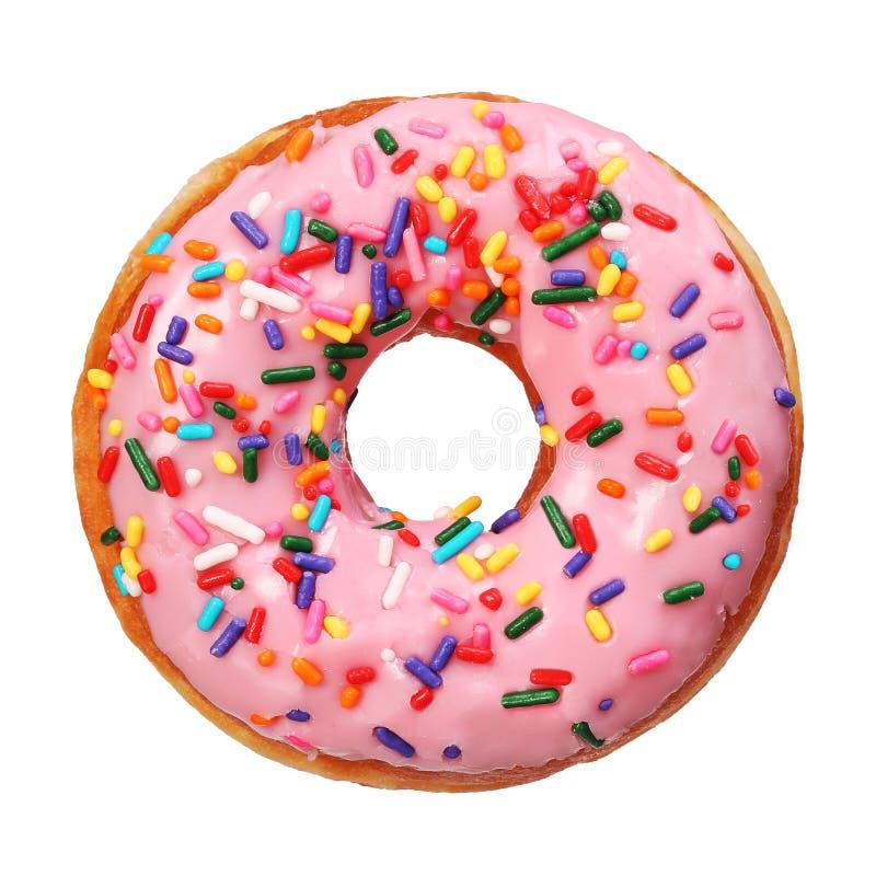 Donut mit besprüht lokalisiert lizenzfreie stockfotos