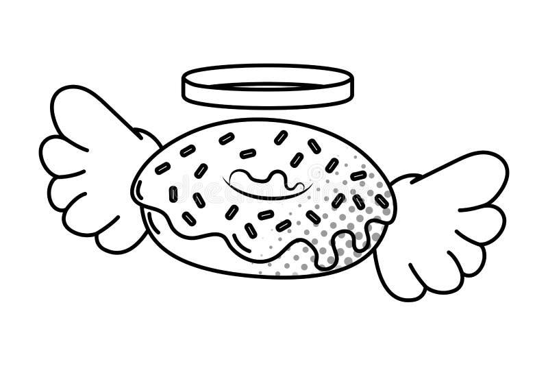 Donut mit den Fl?geln Schwarzweiss stock abbildung
