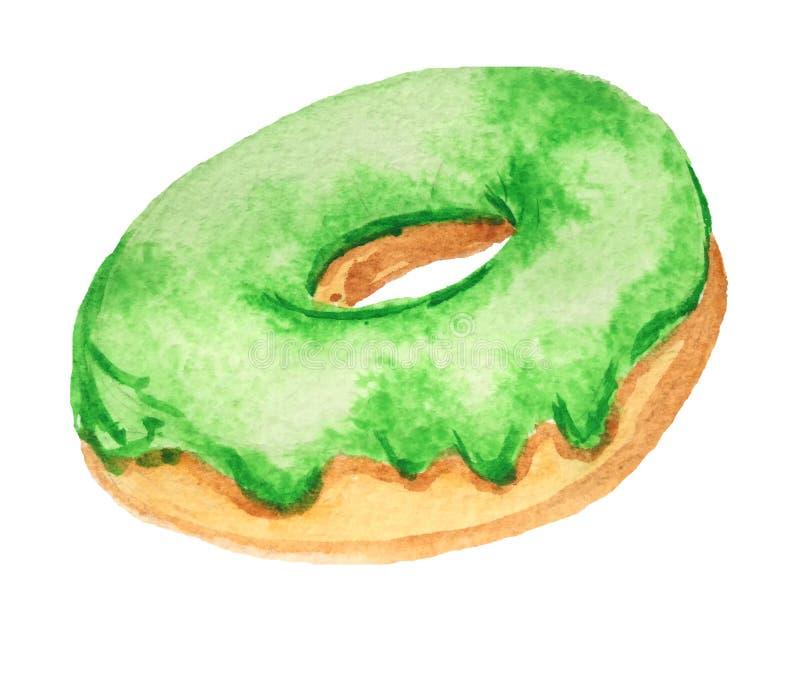 Donut mit Gr?nem glasiert auf einem wei?en Hintergrund lizenzfreie abbildung