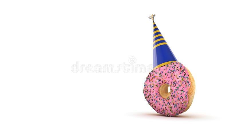 Donut mit Parteihut Wiedergabe 3d vektor abbildung