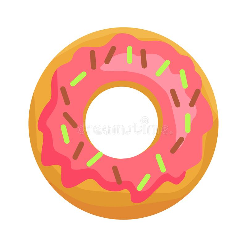 Donut in Pink Glaze with Chocolate Sprinkles Icon stock illustration