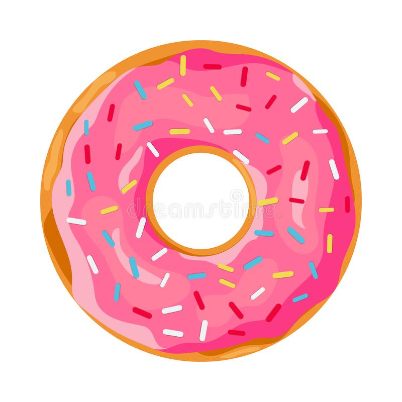 Donut with pink glaze. royalty free illustration