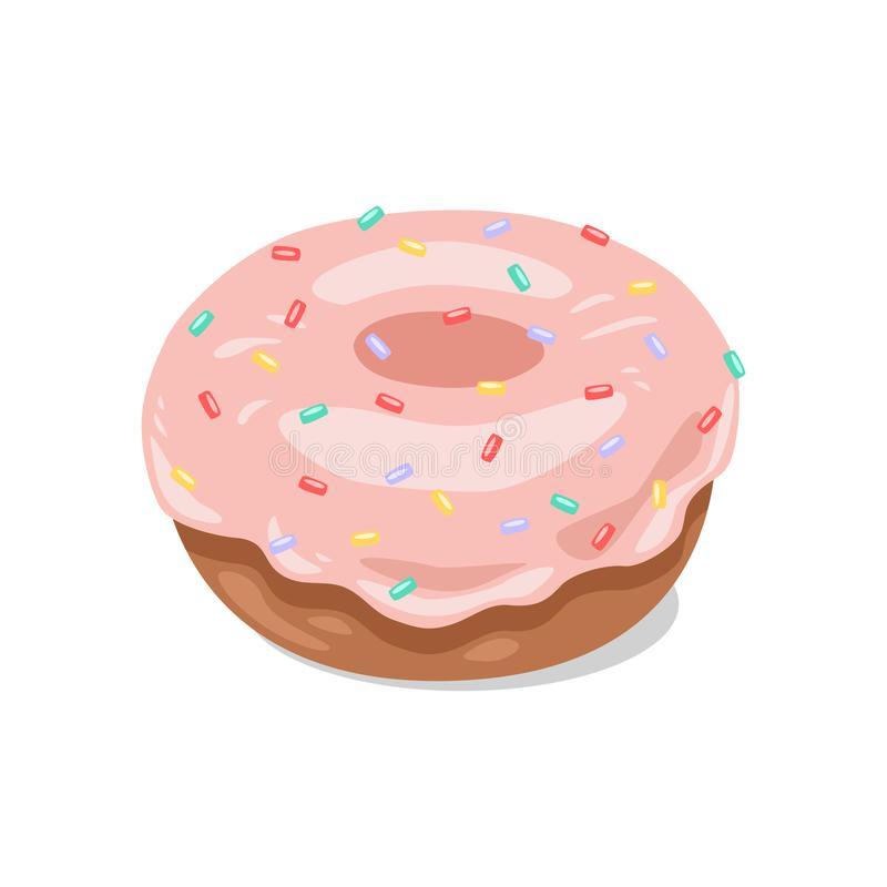 Donut with pink icing and colored sugar. Vector clipart stock photo