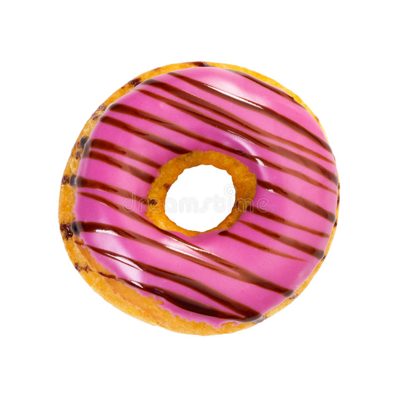 Donut with purple icing and chocolate stripes royalty free stock photography