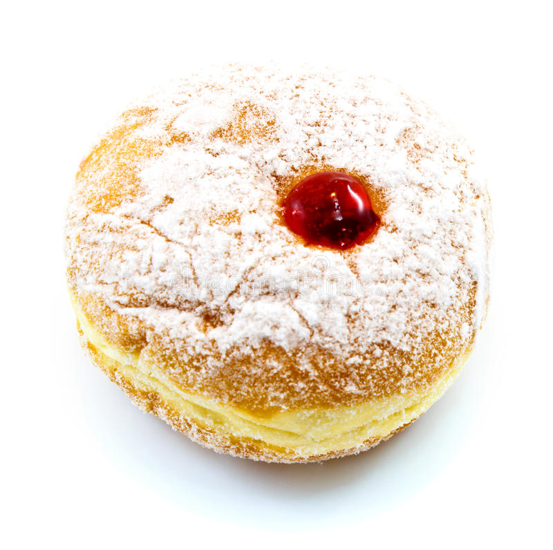 Donut. With red jam and powdered sugar on white background stock photography