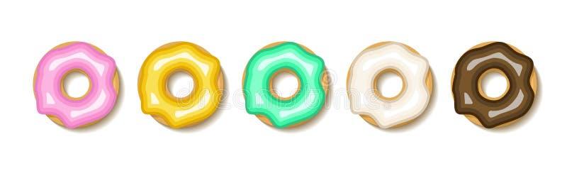 Donut set illustration. Flat donuts dessert cake icon. Doughnut round sweet design stock photo