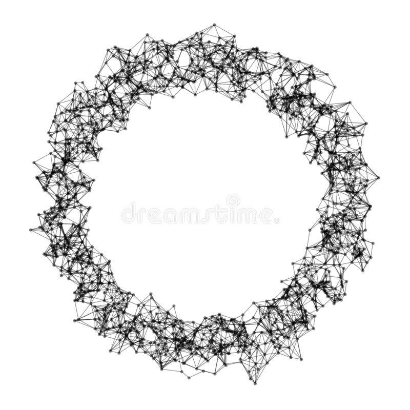 Donut shape with hole. Structure of sphere with network connection lines and dots isolated on white background in futuristic stock illustration