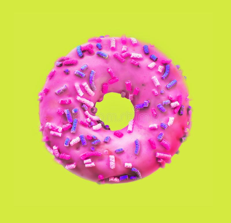 Classic Donut on yellow stock photography