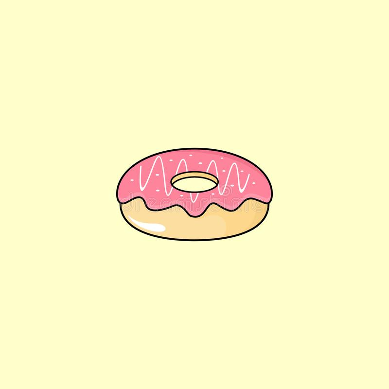 Donut Strawberry Icon Vector Design with Light Yellow Background-01 vector illustration