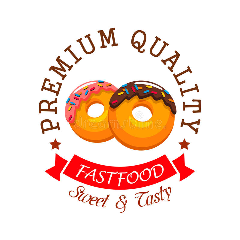 Donut Symbol For Fast Food Cafe And Bakery Design Stock Vector