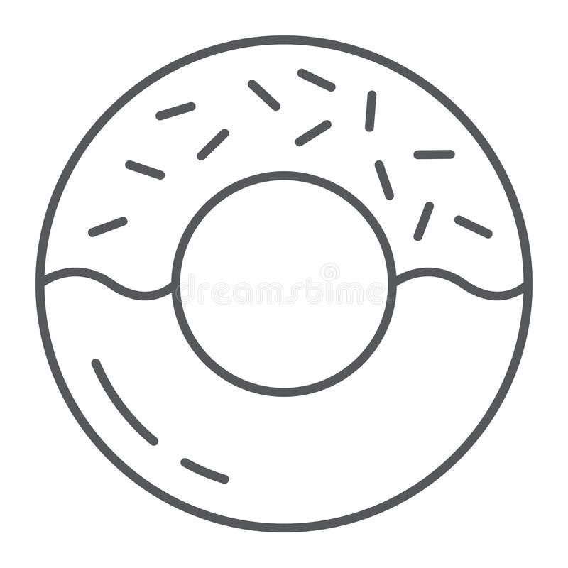 Donut thin line icon, delicious and food, cake sign, vector graphics, a linear pattern on a white background. Donut thin line icon, delicious and food, cake royalty free illustration