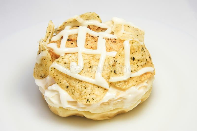 Donut with potato chips topping royalty free stock photos