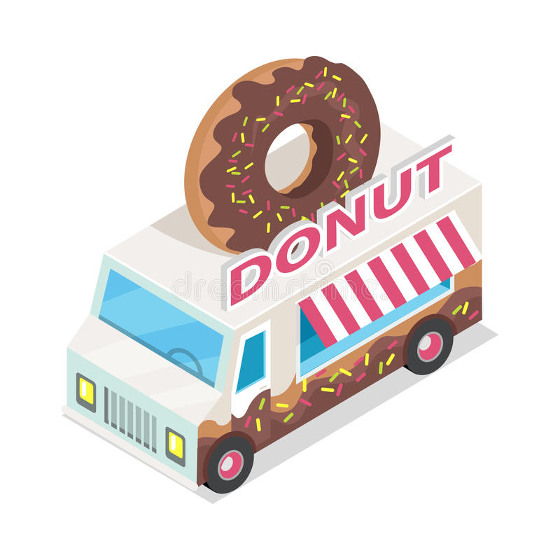Donut Trolley in Isometric Projection. Doughnut. Donut trolley in isometric projection style design icon. Street fast food concept. Food truck with umbrella royalty free illustration