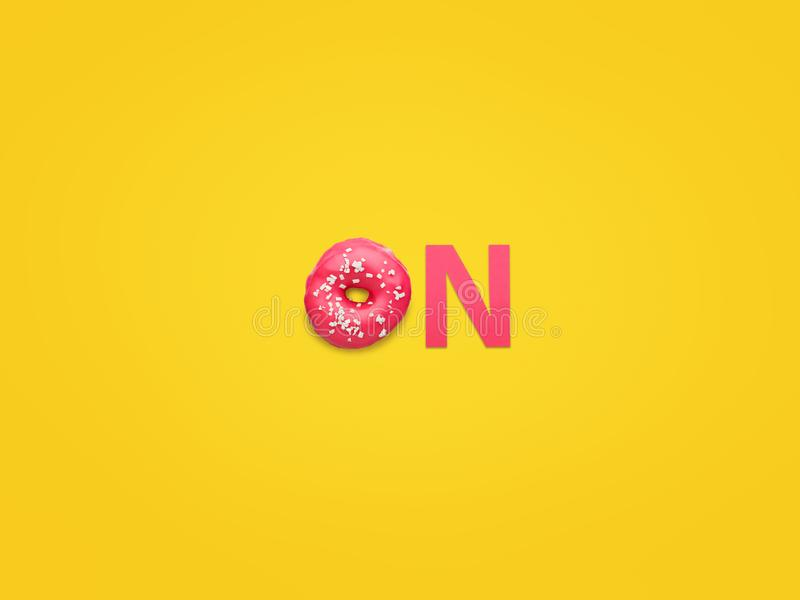 Donut und Buchstabe im Wort an stockfoto