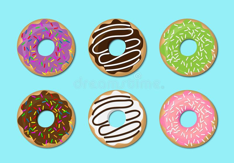 Donut vector set isolated on a light background in a modern flat style. royalty free illustration