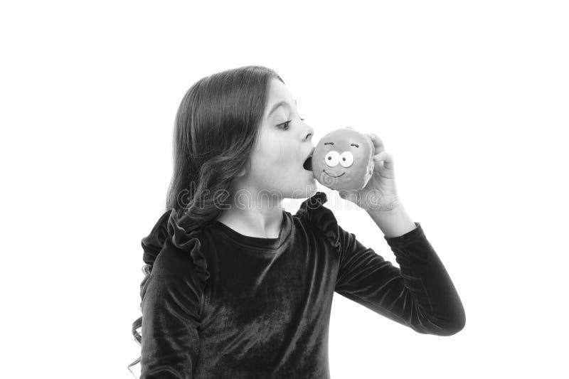 Donut werden so popul?r Zuckergeh?lter und gesunde Nahrung Gl?ckliche Kindheit und s??e Festlichkeiten Donut, der Di?t bricht lizenzfreies stockbild