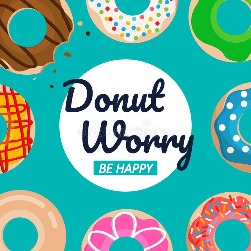 Free Donut Worry Be Happy Text With Donuts Vector Set Graphic Stock Photography - 122802672