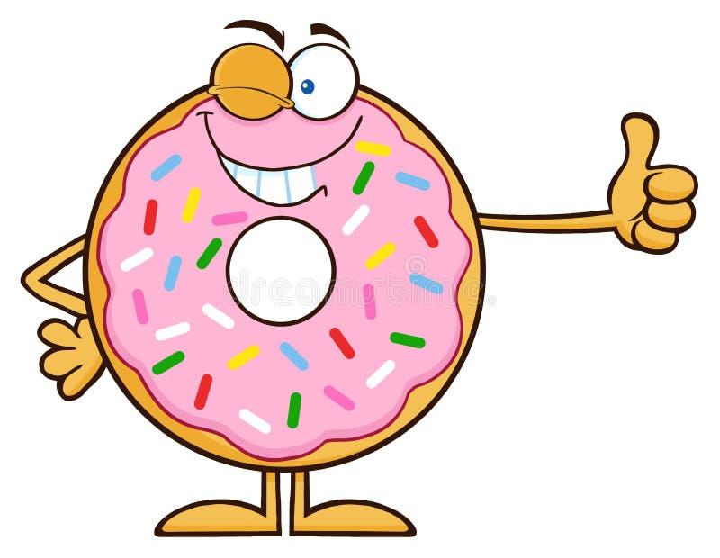 Donut-Zeichentrickfilm-Figur mit blinzelnd, besprüht einen Daumen aufgeben stock abbildung
