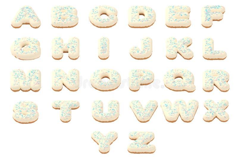 Donutguss-ABC-Alphabetletztere eingestellt stockbilder