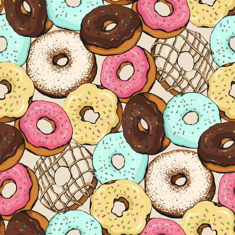 Donutmusterskizze vektor abbildung
