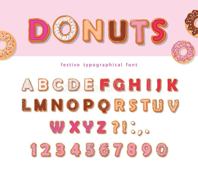 Donuts вручают вычерченный декоративный шрифт Письма и номера шаржа сладостные Милый дизайн для девушек помадка партии еды торжес иллюстрация штока