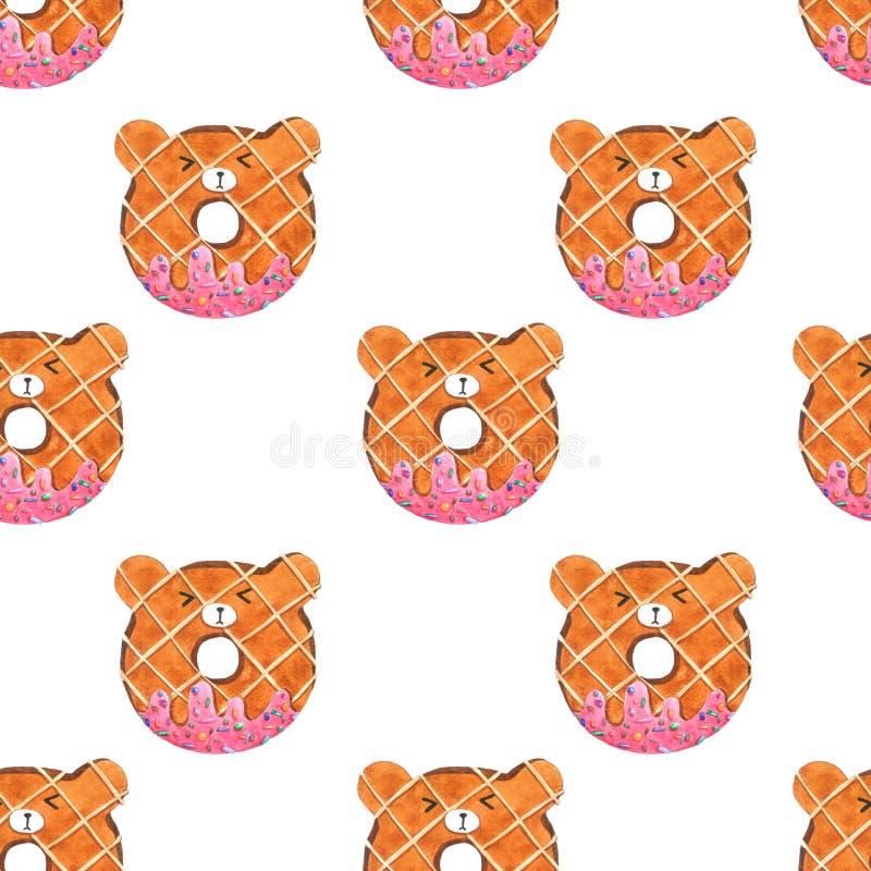 Donuts для упаковки, ткань медведя безшовной картины милые печати Изображение акварели нарисованное рукой совершенное в случаи ко иллюстрация вектора