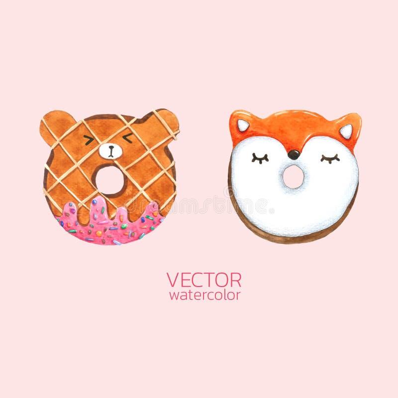 Donuts милые Vector акварель, рука нарисованная для поздравительной открытки, упаковка, магазин хлебопекарни и больше иллюстрация вектора
