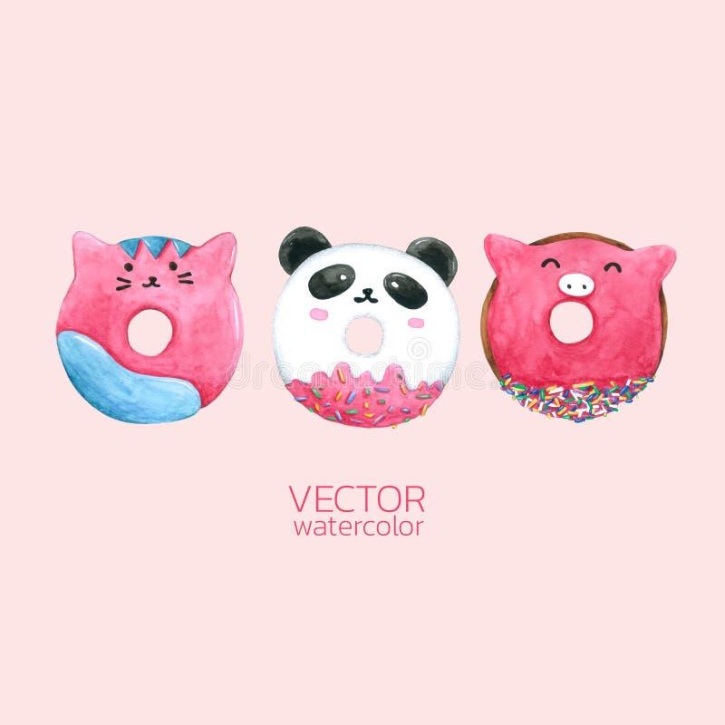 Donuts милые Vector акварель, рука нарисованная для поздравительной открытки, упаковка, магазин хлебопекарни и больше бесплатная иллюстрация