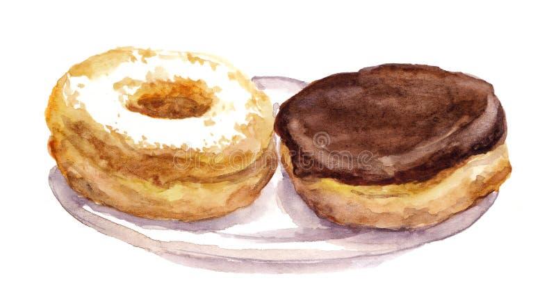 Donuts покрашенные акварелью бесплатная иллюстрация