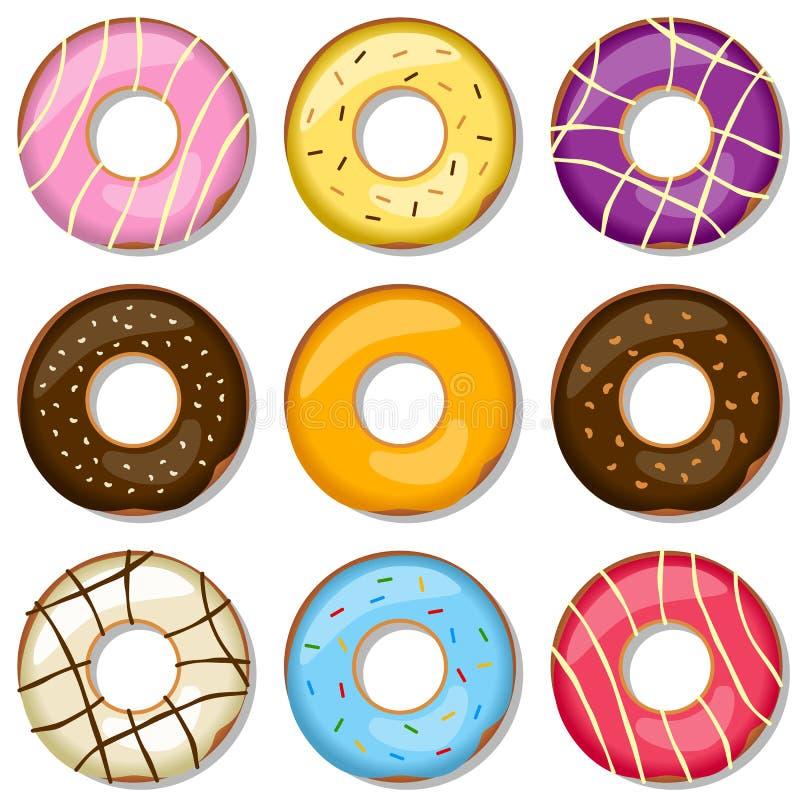 donuts собрания вкусные иллюстрация вектора