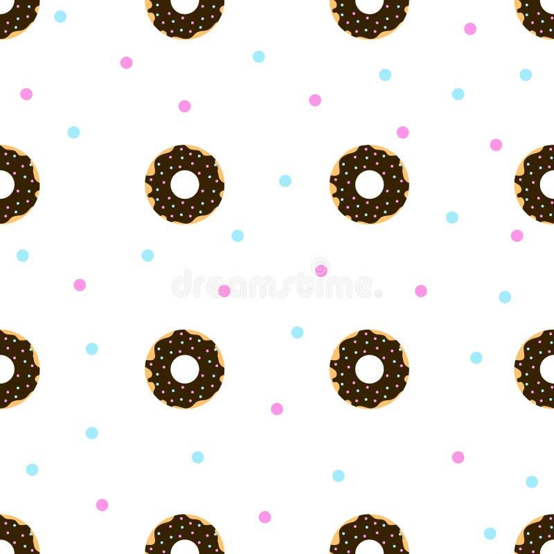 Donuts шоколада с синью и пинком брызгают иллюстрация штока