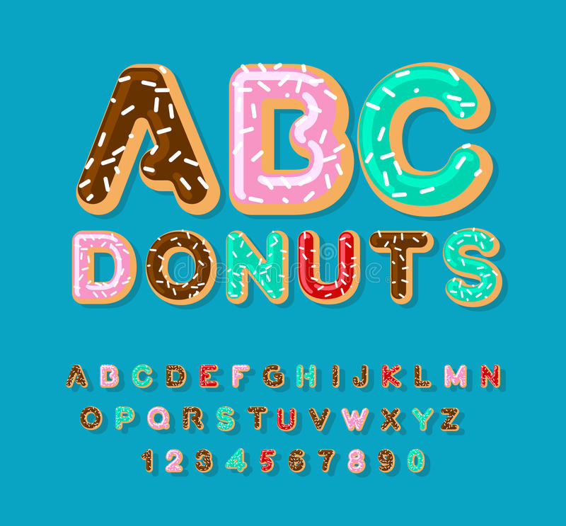Donuts ABC. pie alphabet. Baked in oil letters. icing and sprinkling. Edible typography. Food lettering. Doughnut font vector illustration
