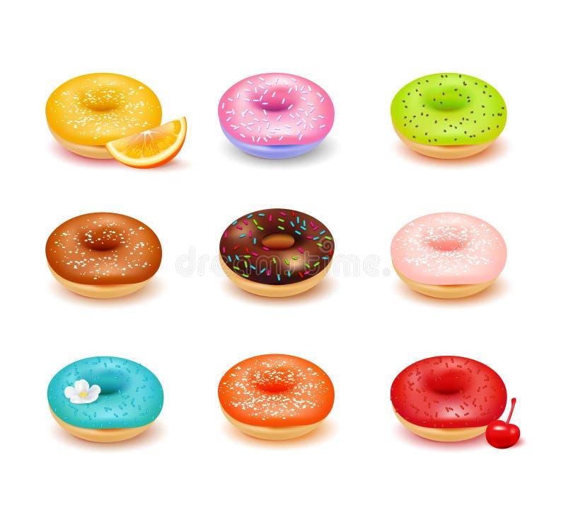 Donuts asortymentu set ilustracji