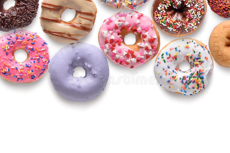 Donuts. Assorted donuts isolated on white background royalty free stock photography