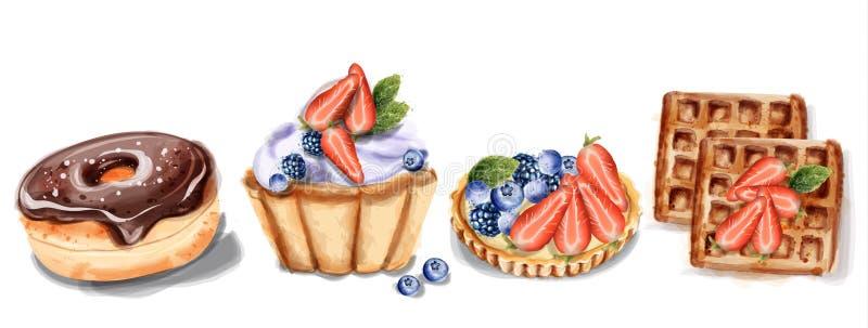 Donuts babeczki i gofra zaproszenie gręplują Wektorową akwarelę Czekoladowi truskawkowi słodcy wystroje ilustracja wektor