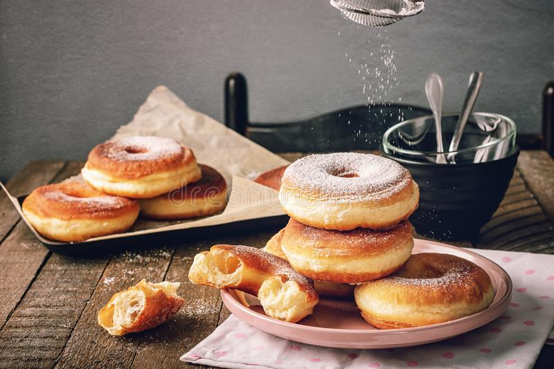 Donuts for breakfast stock images