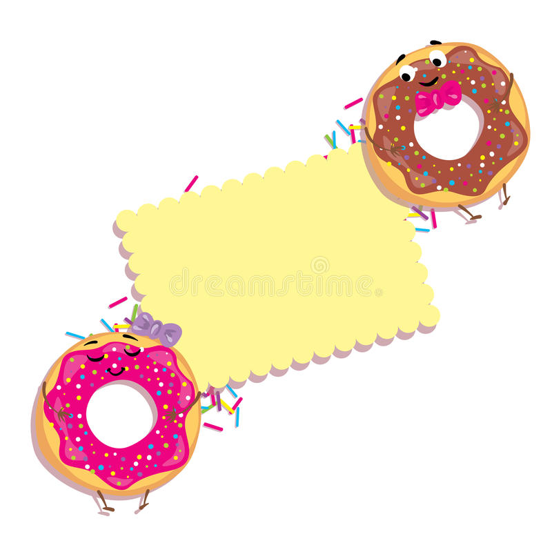 Donuts and card with space for text. Lovely desserts with a smile. Characters. Vector illustration. stock illustration