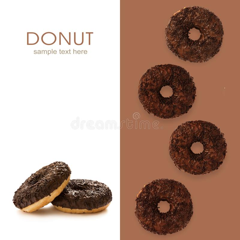 Donuts in chocolate glazed with chocolate chips isolated on the white background, seamless pattern, top view, flat lay stock photography