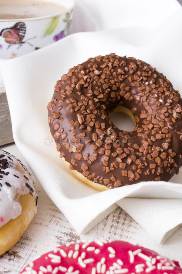Donuts with chocolate royalty free stock image