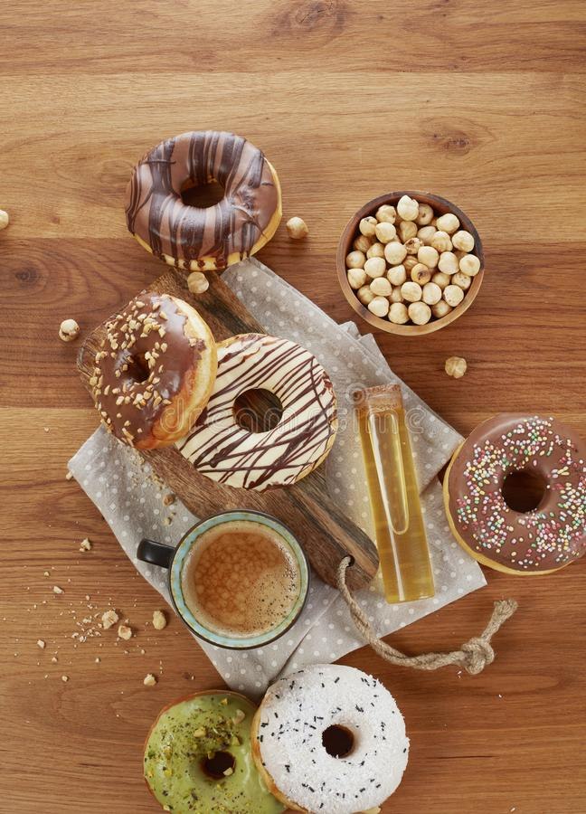 Donuts and coffee royalty free stock images