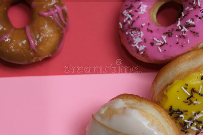 Donuts  on colorful background. Many Assorted donuts on a background stock photography
