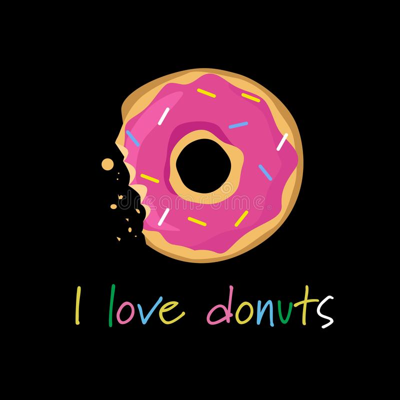 Donuts covered colorful icing bitten off lettering template greeting card black background royalty free illustration