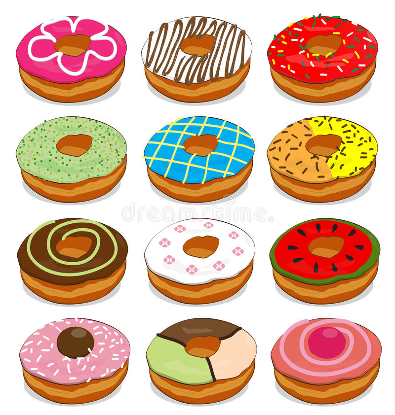 Donuts cute Collection Set. On white background stock illustration