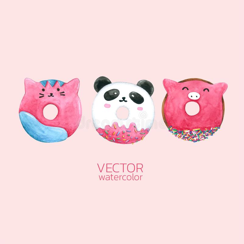 Donuts Cute. Vector watercolor, Hand drawn for Greeting Card, Packaging , Bakery Shop and more. Set of watercolor Donuts Cute. Vector watercolor, Hand drawn for royalty free illustration