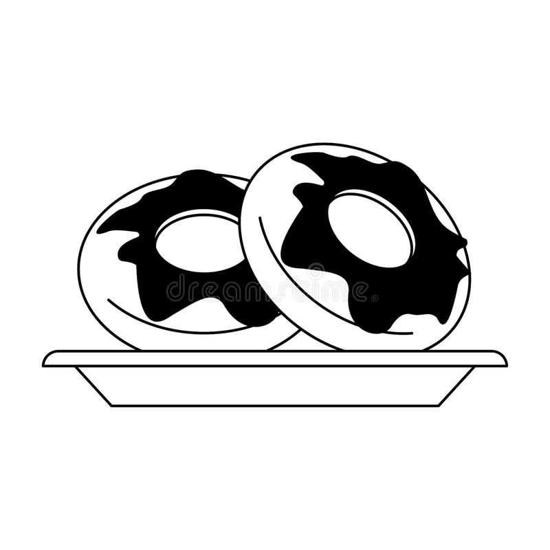 Donuts desserts on dish in black and white. Donuts desserts on dish cartoon vector illustration graphic design royalty free illustration