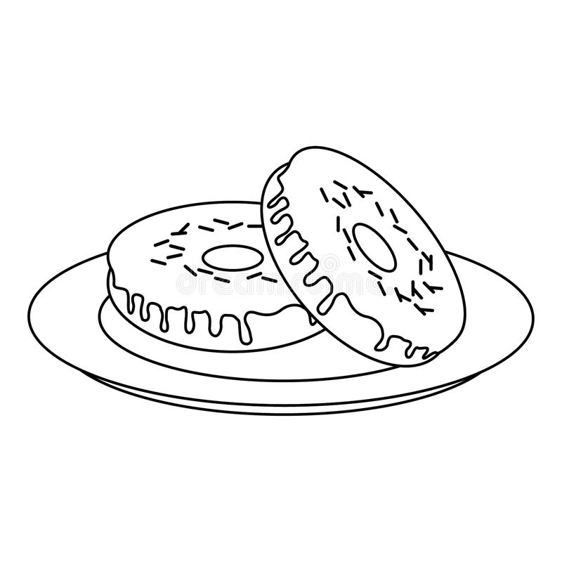 Donuts desserts on dish cartoon in black and white. Donuts desserts on dish cartoon vector illustration graphic design stock illustration