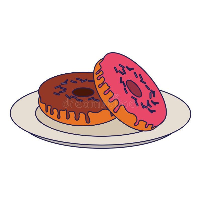 Donuts desserts on dish cartoon blue lines. Donuts desserts on dish cartoon vector illustration graphic design stock illustration